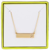BaubleBar 14K Gold Plated Ice &P& Initial Bar Pendant Necklace