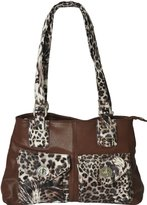 High Quality Luciano Caruso Tote Bag. Made from Fine Pebbled Faux Leather. Animal Print Pockets and Trimmings. 2 Front Pockets, plus Inside/Outside Zippered Pockets.
