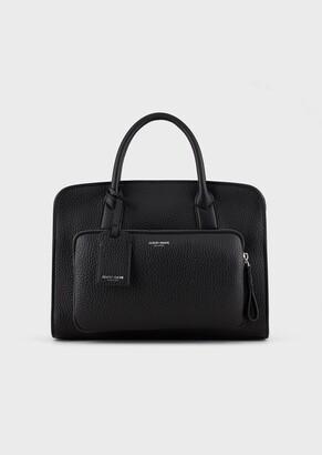 Giorgio Armani Deer-Print Leather Briefcase