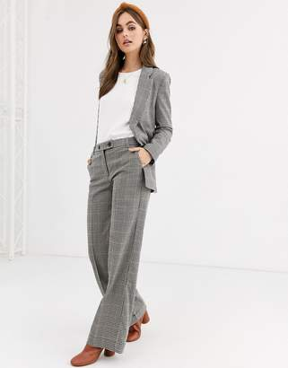 Pimkie wide leg button front pant in check-Multi