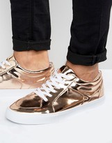 Asos Lace Up Sneakers in Metallic Copper Gold