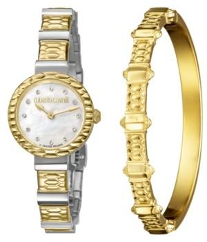 Roberto Cavalli Women's Diamond Swiss Quartz Two-Tone Stainless Steel Watch & Bracelet Gift Set, 26mm