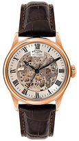 Rotary Gs02942/01 Skeleton Leather Strap Watch, Brown/white