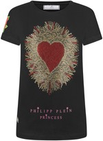 Philipp Plein Girls Black Diamante Heart Top