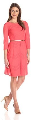 London Times Women's Chevron Mesh Fit and Flare