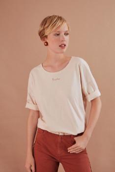 Des Petits Hauts Latte Kanoe T Shirt - size 0 | cotton | latte - Latte
