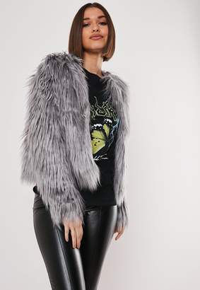 Missguided Grey Shaggy Faux Fur Coat