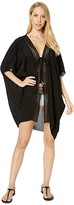 Becca by Rebecca Virtue Globe Trotter Crinkled Rayon Kimono Robe Cover-Up (Black) Women's Swimwear