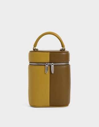 Charles & Keith Two-Tone Two-Way Zip Bucket Bag