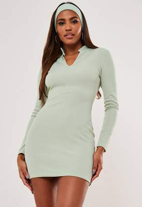 Missguided Rib Notch Neck Mini Dress