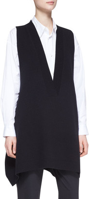 eskandar A-Line Sleeveless Deep-V Long Cashmere Sweater, Black