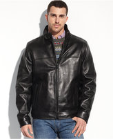 Tommy Hilfiger Jacket, Smooth Lamb Leather Stand Collar Jacket