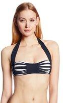 Anne Cole Women's Stripe and Tuck Center Shirred Halter Bikini Bra