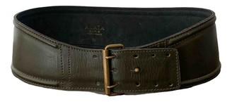 Alaia Khaki Leather Belts