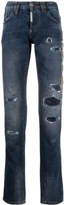 Philipp Plein Studded Patchwork Straight-Leg Jeans