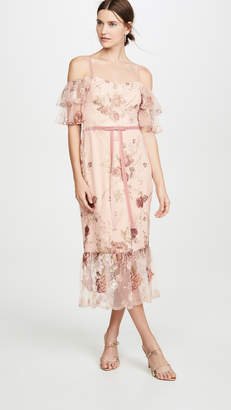 Marchesa Off the Shoulder Tiered Sleeve Embroidered Tea-Length Gown