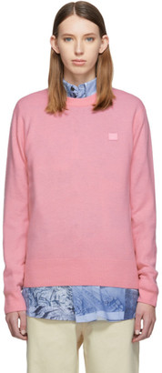 Acne Studios Pink Patch Crewneck Sweater