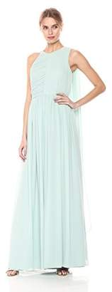 Halston Women's Sleeveless Plisse Fortuny Gown with Back Drape