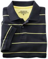 Charles Tyrwhitt Classic fit navy striped pique polo