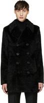 Saint Laurent Black Faux-fur Peacoat
