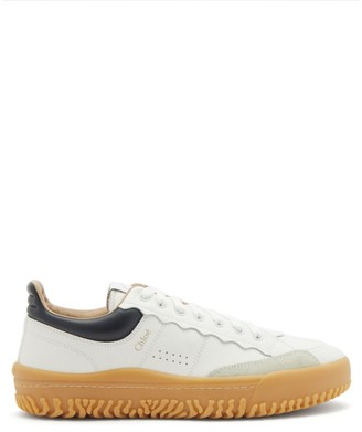 Chloé Padded-cuff Leather Trainers - White Navy