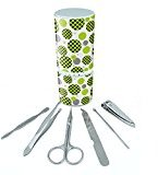 Manicure Pedicure Grooming Beauty Personal Care Travel Kit (Tweezers,Nail File,Nail Clipper,Scissors) - Pattern Prints L-Z Polka Dots Black Lime Green