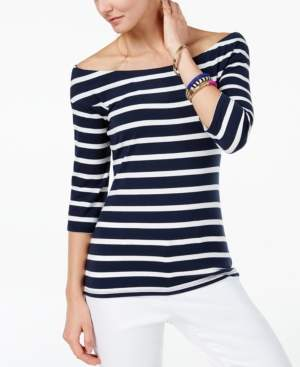 INC International Concepts I.n.c. Striped Off-The-Shoulder Top, Created for Macy's