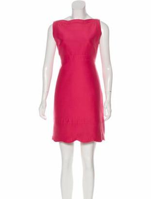 Valentino Bateau Neckline Mini Dress Pink