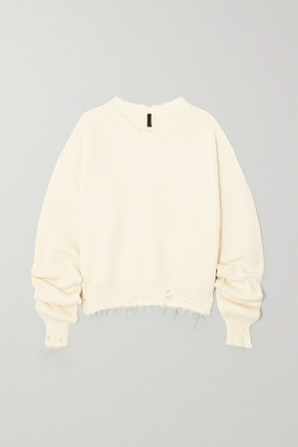 Unravel Project Distressed Ribbed Cotton And Cashmere-blend Sweater - Cream