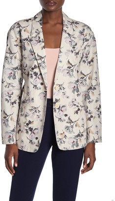 Rebecca Taylor Sofia Floral Notch Lapel Tie Waist Jacket