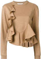 Givenchy frill flared knitted top - women - Wool - S
