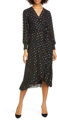 Ted Baker Tansie Metallic Dot Long Sleeve Wrap Dress