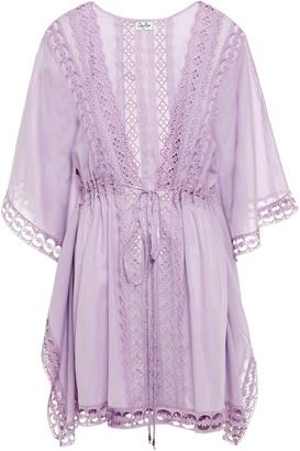 Charo Ruiz Ibiza Kayla Crocheted Lace-trimmed Cotton-blend Voile Kaftan