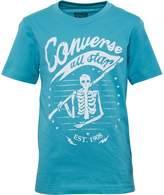 Converse Junior Boys Skeleton Flag T-Shirt Agean Aqua