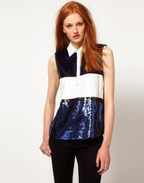 ADAM By Adam Lippes Sequin Sleeveless Rugby Top