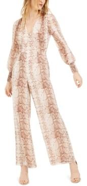 Bar III Snake-Print Jumpsuit, Created for Macy's