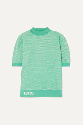 Fendi Intarsia-trimmed Layered Open-knit Sweater - Green