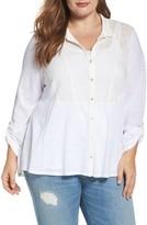 Lucky Brand Plus Size Women's Mixed Media Shirt