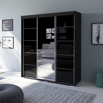 Neillsville 3 Door Modern High Gloss Armoire Orren Ellis Color: Black