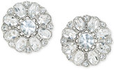 Carolee Silver-Tone Crystal Button Clip-On Earrings