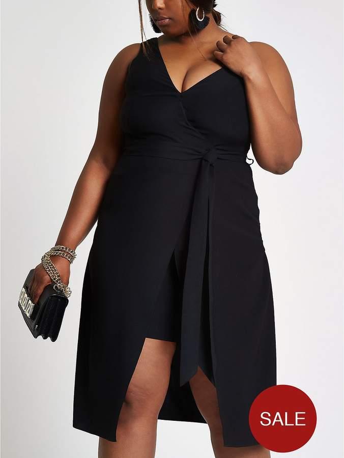 RI Plus Asymmetric Dress - Black