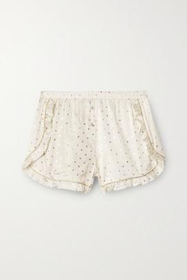 Morgan Lane Esti Ruffled Metallic-trimmed Printed Silk-blend Satin Pajama Shorts - Ivory