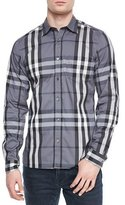 Burberry Nelson Woven Check Sport Shirt, Charcoal