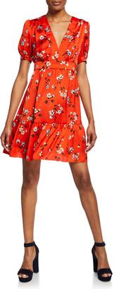 Jill by Jill Stuart Floral-Print V-Neck Short-Sleeve Mini Dress