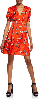 Jill Stuart Floral-Print V-Neck Short-Sleeve Mini Dress