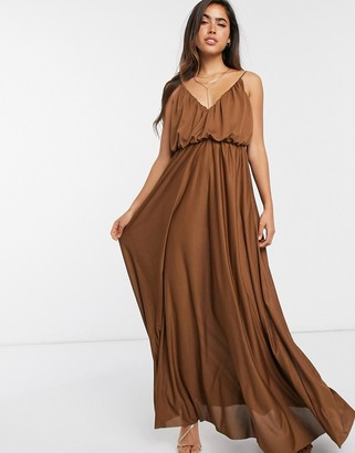 ASOS DESIGN cami plunge maxi dress with blouson top in chocolate