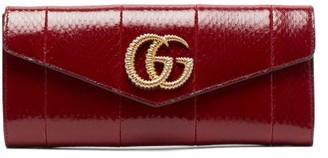 Gucci Broadway Gg-plaque Elaphe Clutch Bag - Burgundy