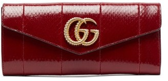 Gucci Broadway Gg-plaque Elaphe Clutch Bag - Womens - Burgundy