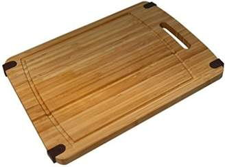 Camilla And Marc Sohler By Eurotrade Rectangular Bamboo Chopping Board with Handle, Wood, Brown, 32 x 20 x 1.6 cm