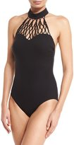 Gottex Black Diamond High-Neck One-Piece Swimsuit